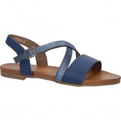 Granatowe lekkie sandały płaskie z paskiem na krzyż Casu K18X6/N. Szare sandały damskie Casu, na płaskiej podeszwie. Za 39,99 zł.