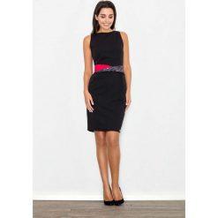 Sukienki balowe: Czarna Sukienka Wizytowa Bodycon z Kontrastową Szarfą
