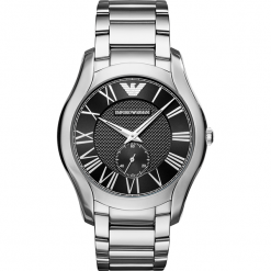 Zegarek EMPORIO ARMANI - Valente AR11086 Silver/Silver. Szare zegarki męskie marki Emporio Armani, l, z nadrukiem, z bawełny, z okrągłym kołnierzem. Za 1059,00 zł.