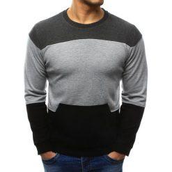 Swetry klasyczne męskie: Sweter męski z kieszenią czarno-szary (wx1032)