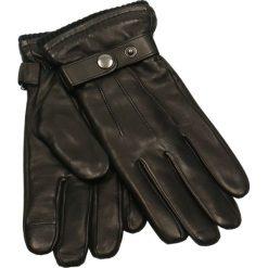 Rękawiczki męskie. Czarne rękawiczki męskie Gino Rossi, na jesień, w paski, ze skóry. Za 229,90 zł.