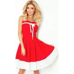 Federica Sukienka - CZERWONA z BIAŁYM pasem - TASIEMKA biała. Brązowe sukienki z falbanami marki Reserved, m, z gorsetem, gorsetowe. Za 149,99 zł.