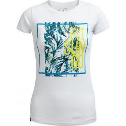 T-shirt damski TSD629 - biały - Outhorn. Białe t-shirty damskie Outhorn, z nadrukiem, z bawełny. W wyprzedaży za 24,99 zł.