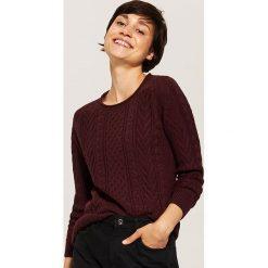 Sweter z warkoczami - Bordowy. Czerwone swetry klasyczne damskie marki House, l. Za 89,99 zł.