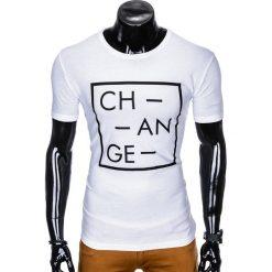 T-shirty męskie: T-SHIRT MĘSKI Z NADRUKIEM S991 - BIAŁY