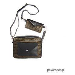 Torebka Double Bag- złocisto czarny kroko. Czarne torebki klasyczne damskie Pakamera. Za 429,00 zł.