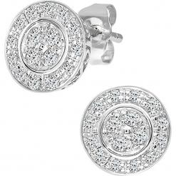 Złote kolczyki-wkrętki z z diamentami. Szare kolczyki damskie REVONI, z diamentem, złote. W wyprzedaży za 861,95 zł.