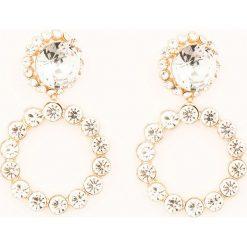 Kolczyki damskie: NA-KD Accessories Wysadzane kryształami kolczyki w kształcie podwójnego koła – Blue,Gold