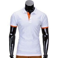 KOSZULKA MĘSKA POLO BEZ NADRUKU S758 - BIAŁA/POMARAŃCZOWA. Białe koszulki polo Ombre Clothing, m, z nadrukiem. Za 29,00 zł.
