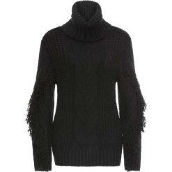 Golfy damskie: Sweter z golfem i frędzlami bonprix czarny