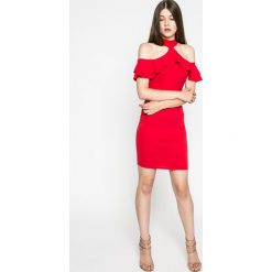 Kiss my dress - Sukienka. Czerwone sukienki balowe marki Kiss My Dress, l, z dzianiny, z krótkim rękawem, mini, dopasowane. W wyprzedaży za 49,90 zł.