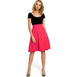 Spódniczki: Różowa Spódnica Trapezowa przed Kolano z Podwyższonym Stanem