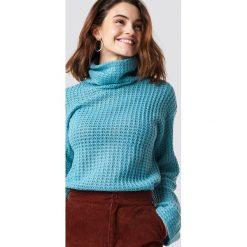 NA-KD Krótki sweter - Blue. Niebieskie golfy damskie NA-KD, z dzianiny, z krótkim rękawem. Za 113,00 zł.