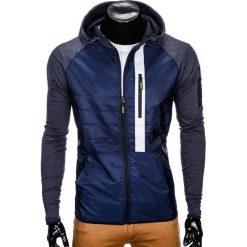 KURTKA MĘSKA PRZEJŚCIOWA C340 - GRANATOWA. Zielone kurtki męskie przejściowe marki Ombre Clothing, na zimę, m, z bawełny, z kapturem. Za 79,00 zł.