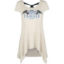 Supernatural Humans Are So Fragile Koszulka damska melanż kremowy. Białe bluzki z odkrytymi ramionami Supernatural, l, melanż, z okrągłym kołnierzem. Za 89,90 zł.