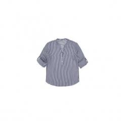Bluzka tkanina z guziczkami ze stójką w paski. Szare bluzki z odkrytymi ramionami TXM, w paski, z tkaniny, ze stójką. Za 39,99 zł.