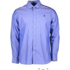 Koszula w kolorze błękitnym. Niebieskie koszule męskie marki U.S. Polo Assn., m, z haftami, z bawełny, z klasycznym kołnierzykiem. W wyprzedaży za 195,95 zł.