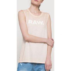 G-Star Raw - Top. Szare topy damskie marki G-Star RAW, l, z nadrukiem, z bawełny, z okrągłym kołnierzem. W wyprzedaży za 89,90 zł.