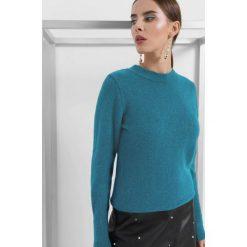 Puszysty sweter. Niebieskie swetry klasyczne damskie marki Orsay, xs, z dzianiny, z okrągłym kołnierzem. Za 79,99 zł.