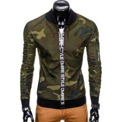 Bluzy męskie: BLUZA MĘSKA ROZPINANA BEZ KAPTURA B739 – ZIELONA/MORO