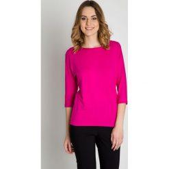 Bluzki asymetryczne: Różowa bluzka z rękawem 3/4 BIALCON