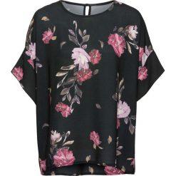 Bluzka z nadrukiem bonprix czarny wzorzysty. Czarne bluzki asymetryczne bonprix, z nadrukiem, z krótkim rękawem. Za 99,99 zł.