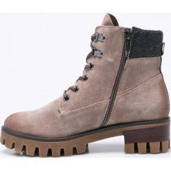 Tamaris - Botki. Szare buty zimowe damskie Tamaris, z materiału, z okrągłym noskiem, na sznurówki. W wyprzedaży za 229,90 zł.