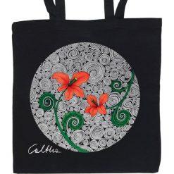 Shopper bag damskie: Czerwone kwiaty – torba (2 kolory)