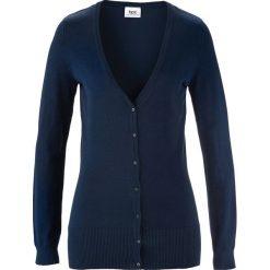 Sweter rozpinany bonprix ciemnoniebieski. Niebieskie swetry rozpinane damskie marki bonprix, z dzianiny. Za 59,99 zł.