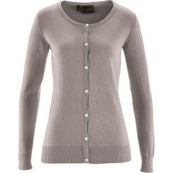Sweter rozpinany z domieszką jedwabiu bonprix brunatny. Brązowe swetry rozpinane damskie marki bonprix. Za 59,99 zł.