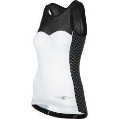Koszulka rowerowa damska RKD001 - biały. Białe bluzki sportowe damskie 4f, z elastanu, bez rękawów. Za 99,99 zł.