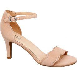 Rzymianki damskie: sandały na obcasie 5th Avenue beżowe