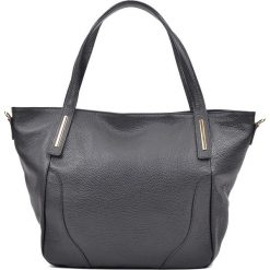 Shopper bag damskie: Skórzany shopper bag w kolorze czarnym – 48 x 33 x 15 cm