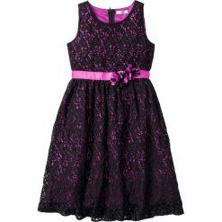 Sukienki dziewczęce: Sukienka koronkowa bonprix czarny-fuksja