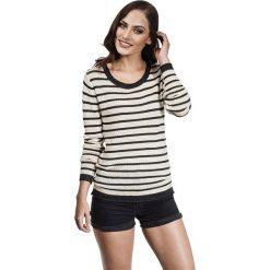 Swetry klasyczne damskie: Sweter w kolorze antracytowo-kremowym