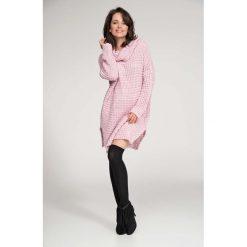 Odzież damska: Różowy Sweter Długi z Szerokim Golfem