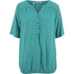 Tunika, krótki rękaw bonprix szmaragdowy wzorzysty. Zielone tuniki damskie bonprix, z krótkim rękawem. Za 74,99 zł.