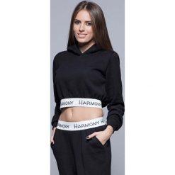 Bluzy rozpinane damskie: Czarna Krótka Bluza Dresowa z Kapturem