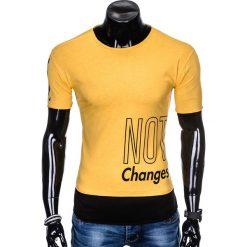 T-SHIRT MĘSKI Z NADRUKIEM S981 - ZÓŁTY. Zielone t-shirty męskie z nadrukiem marki Ombre Clothing, na zimę, m, z bawełny, z kapturem. Za 29,00 zł.