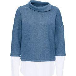 Sweter z koszulową wstawką bonprix niebieski dżins. Niebieskie swetry klasyczne damskie bonprix, z koszulowym kołnierzykiem. Za 99,99 zł.