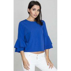 Niebieska Krótka Bluzka z Rozkloszowanymi Rękawami. Niebieskie bluzki z odkrytymi ramionami Molly.pl, l, w jednolite wzory, z jeansu, biznesowe, z dekoltem na plecach, z krótkim rękawem. Za 125,90 zł.