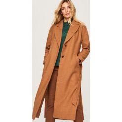 Płaszcz z domieszką wełny - Beżowy. Brązowe płaszcze damskie pastelowe Reserved, z wełny. Za 349,99 zł.