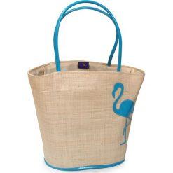 Duża torba plażowa Flamingo. Szare torby plażowe marki Astratex, z materiału. Za 114,99 zł.