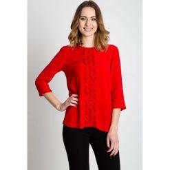 Bluzki asymetryczne: Czerwona bluzka z falbanami na przodzie BIALCON
