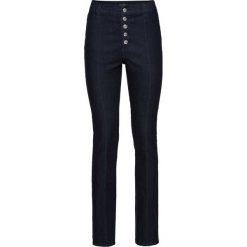 """Dżinsy """"push up"""" z wysoką talią bonprix ciemnoniebieski denim. Niebieskie jeansy damskie bonprix. Za 79,99 zł."""
