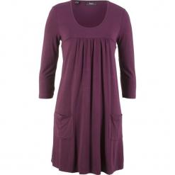 Sukienka shirtowa z rękawami 3/4 bonprix czarny bez. Fioletowe sukienki z falbanami marki bonprix. Za 74,99 zł.