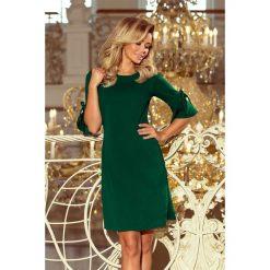 MIA Trapezowa sukienka z rozkloszowanymi rękawkami - ZIELEŃ BUTELKOWA. Zielone sukienki na komunię numoco, s, rozkloszowane. Za 139,99 zł.
