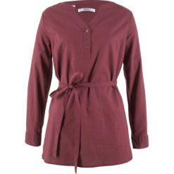 Odzież damska: Tunika lniana, długi rękaw bonprix czerwony klonowy