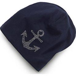 Czapka beanie z dżerseju ze sztrasami bonprix niebieski - kotwica. Niebieskie czapki zimowe damskie marki bonprix, z aplikacjami, z dżerseju. Za 24,99 zł.