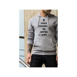 Boski męska szara bluza z kapturem. Szare bluzy męskie rozpinane One mug a day, l, z bawełny, z kapturem. Za 179,00 zł.